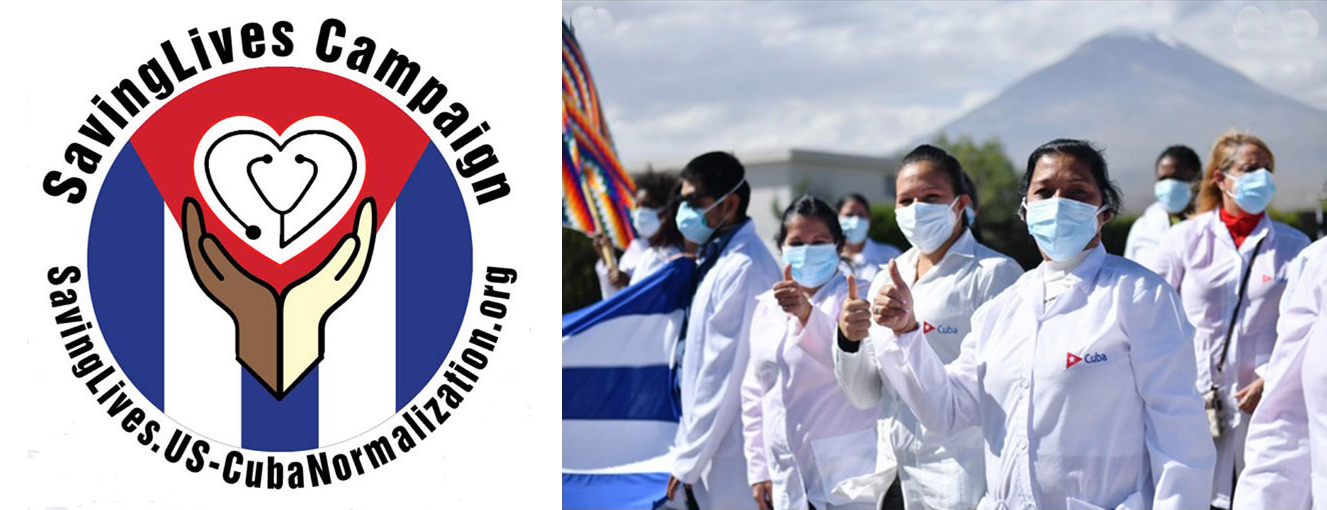"""Masked Cubans giving """"thumbs up"""" and logo for the SavingLives Campaign"""